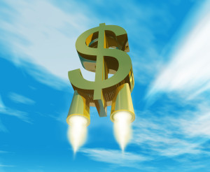 smbolo de dinero impulsado por toberas de cohete