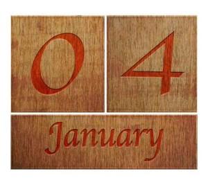 Wooden calendar January 4.