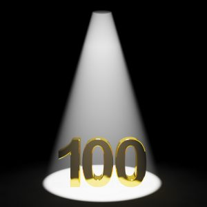 Gold 100th Or One Hundred 3d Number Representing Anniversary Or Birthday